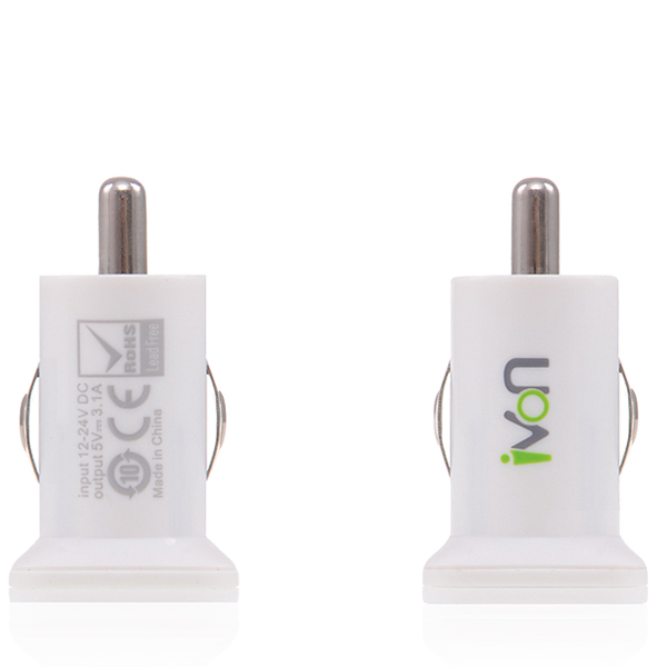 Dual Tablet & Phone USB Car Charger in White