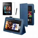 "Blue Kindle Fire HD 7"" Leather Case 1st Generation"
