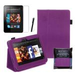 "Purple Kindle Fire HD 7"" Leather Case 2nd Generation"
